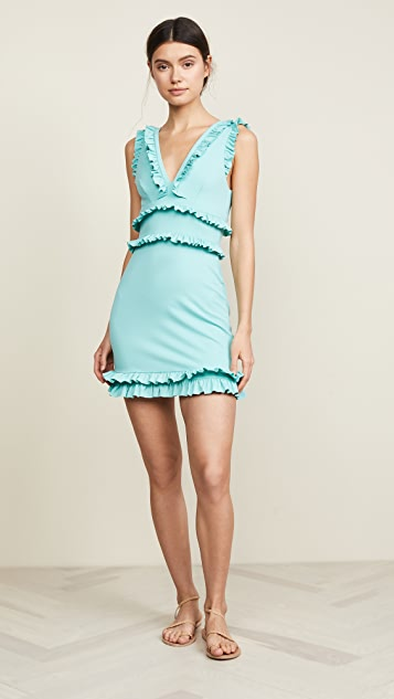 Susana Monaco Sleeveless Plunge Ruffle Dress