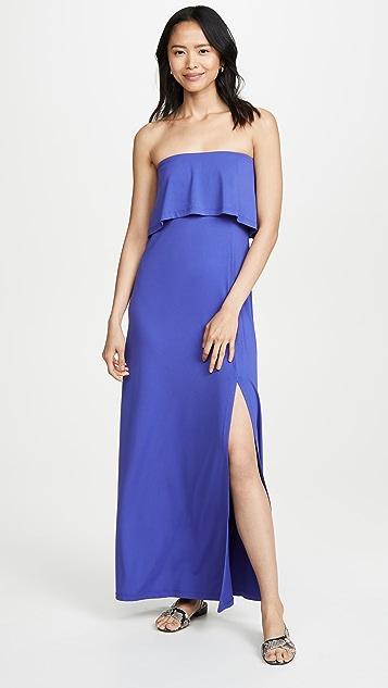 Susana Monaco Strapless Overlay Slit Dress