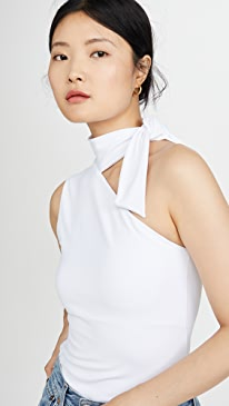 Tie Neck Shoulder Top
