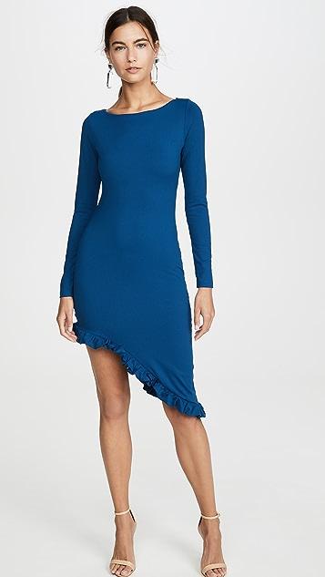 Susana Monaco Long Sleeve Curved Ruffle Hem Dress