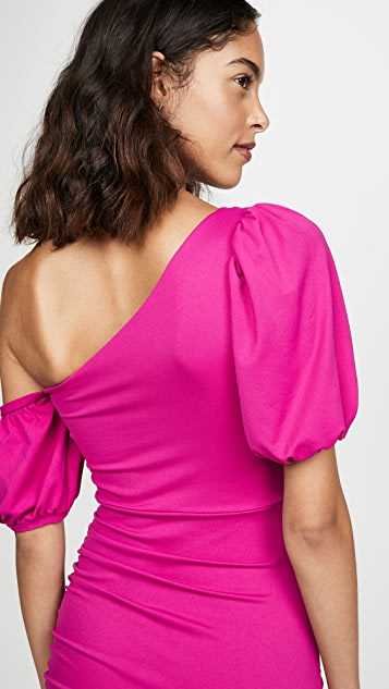 Susana Monaco Gathered Sleeve Open Shoulder Dress