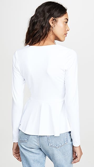 Susana Monaco Long Sleeve Peplum Top