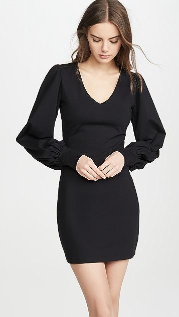 Susana Monaco V Neck Gathered Sleeve Dress