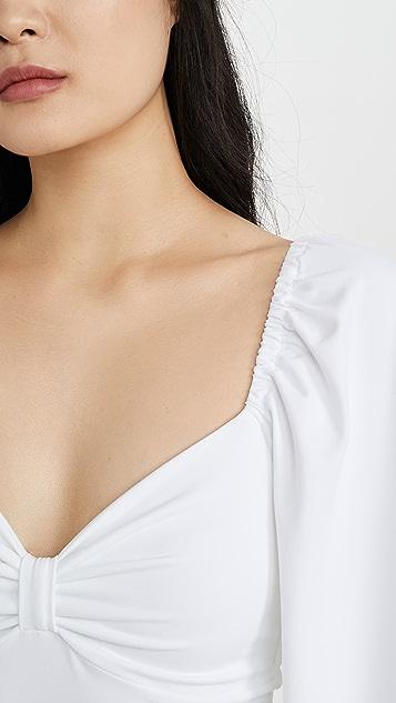 Susana Monaco Gathered Sleeve Cinched Bow Top