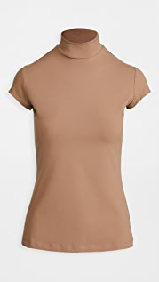 Susana Monaco Mock Neck Short Sleeve Shirt