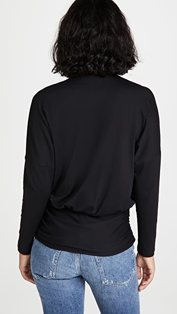 Susana Monaco 长袖正面扭褶蝙蝠衬衫