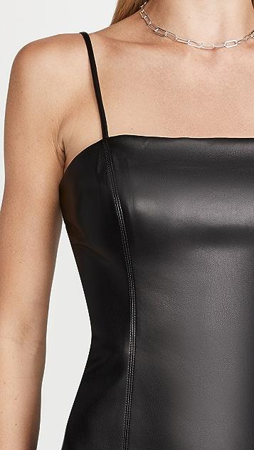 Susana Monaco Faux Leather Thin Strap Square Neck Dress