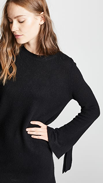 360 SWEATER Rowyn Cashmere Sweater Dress with Tie Sleeve