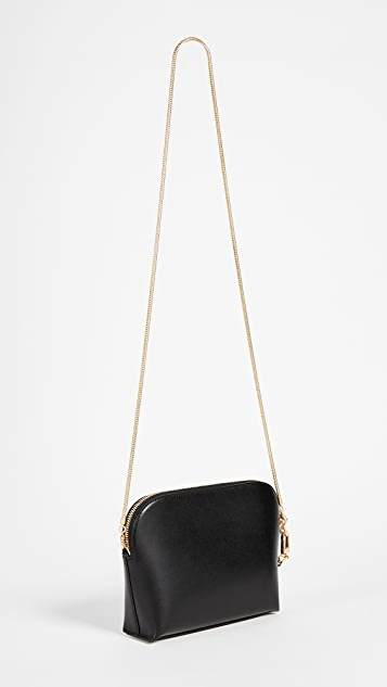 Sarah White Convertible Top Zip Shoulder Bag
