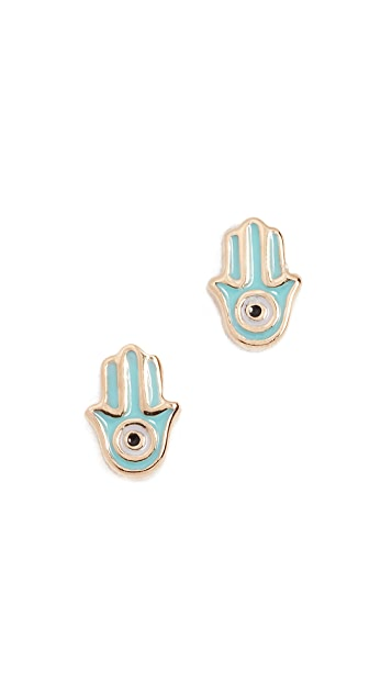 Sydney Evan 14k Gold Mini Hamsa Stud Earrings