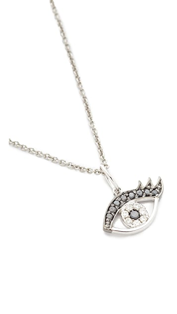 Sydney Evan Small Eyelash Evil Eye Charm Necklace