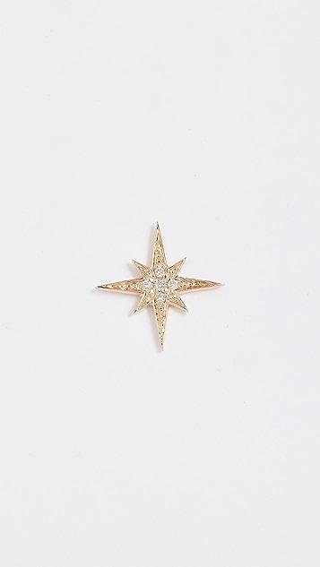Sydney Evan Небольшая серьга-гвоздик Starburst из 14-каратного золота