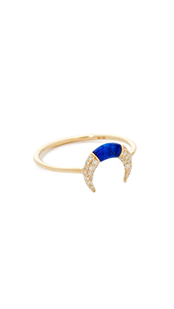 Sydney Evan Small Pave Inverted Crescent Ring