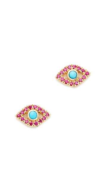 Sydney Evan Small Bezel Evil Eye Stud Earrings