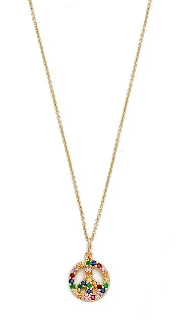 Sydney Evan 14k Gold Small Rainbow Peace Sign Charm Necklace - Gold