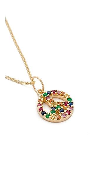 Sydney Evan 14k Gold Small Rainbow Peace Sign Charm Necklace