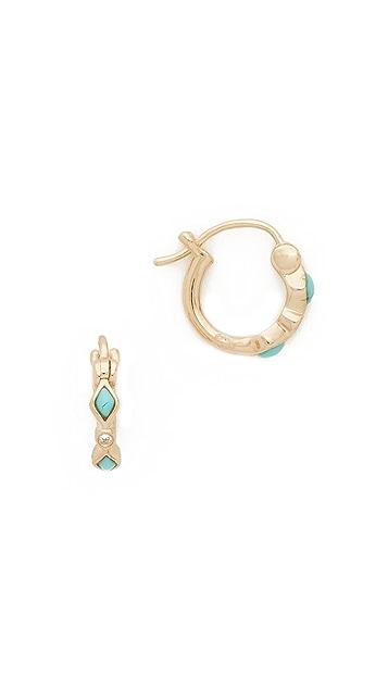 Sydney Evan Turquoise Diamond Bezel Huggie Hoop Earrings