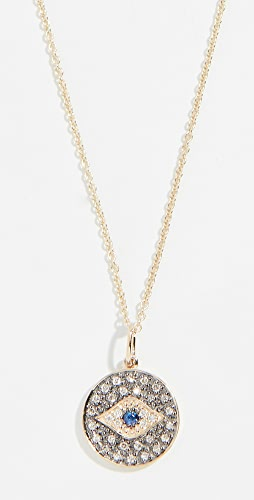 Sydney Evan - 14k Small Eye Disc Necklace