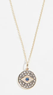 Sydney Evan 14k Small Eye Disc Necklace