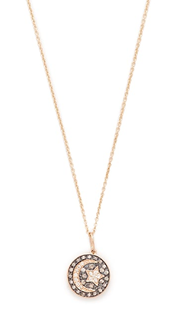 Sydney Evan Small Pave Moon and Star Medallion Necklace