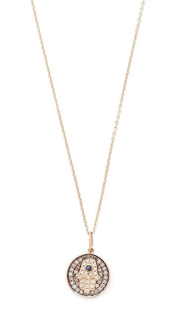 f9049f8012a5 Sydney Evan Small Hamsa Medallion Charom Necklace