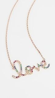 Sydney Evan 14k Gold Rainbow Love Necklace
