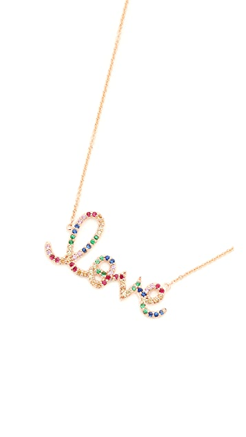 Sydney Evan 14k Gold Rainbow Love Necklace