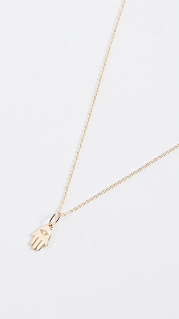 Sydney Evan Tiny Pure Hamsa Charm Necklace