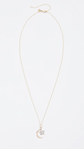 Sydney Evan 14k Moon & Star Charm Necklace