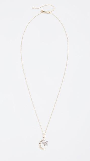 Sydney Evan Moon & Star Charm Necklace