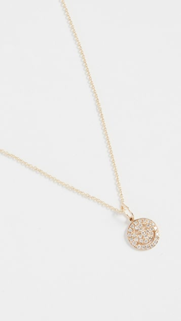 Sydney Evan Pave Happy Face Charm Necklace