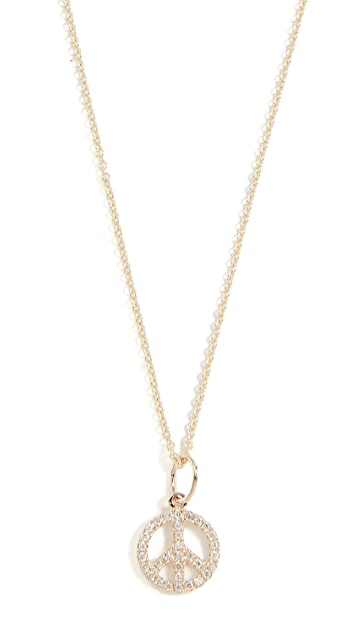 Sydney Evan Pave Peace Sign Charm Necklace