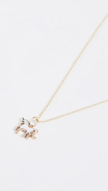 Sydney Evan Mini Enamel Unicorn Charm Necklace