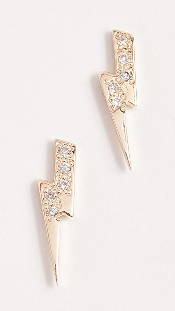 Sydney Evan Lightning Bolt Stud Earrings - Gold