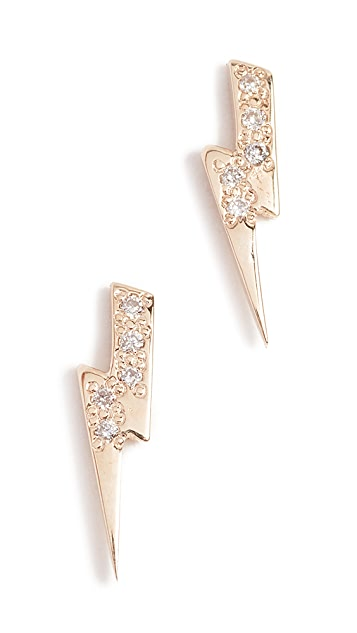 Sydney Evan Lightning Bolt Stud Earrings