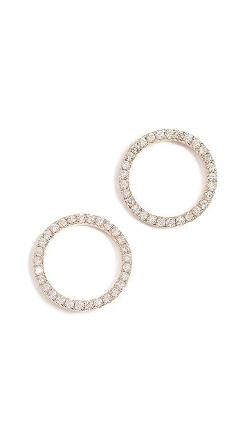 Sydney Evan Pave Circle Stud Earrings