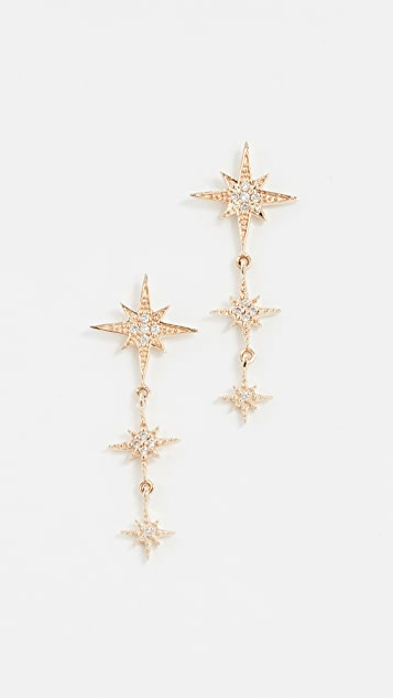 Sydney Evan Starburst 3 Drop Earrings
