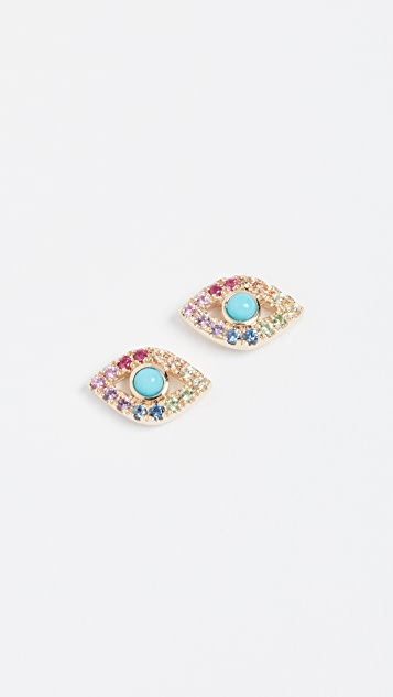 812176290 Sydney Evan Rainbow Small Evil Eye Studs | SHOPBOP