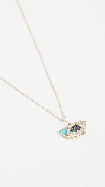Sydney Evan Маленькая подвижная подвеска из 14-каратного золота в виде дурного глаза с бирюзой и черными бриллиантами