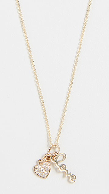 Sydney Evan 14k Gold Love Charm Necklace