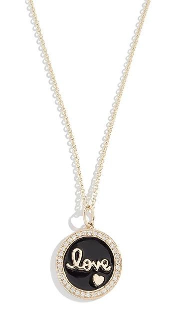 Sydney Evan 14k Love Script Medallion Necklace