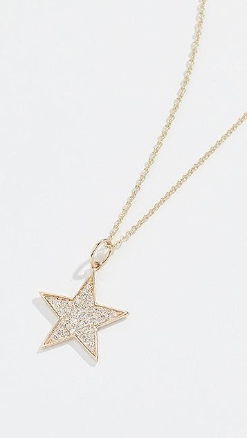 Sydney Evan Колье из 14-каратного золота со звездой среднего размера с паве