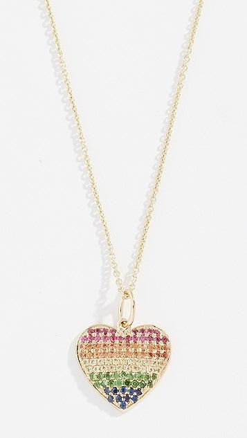 Sydney Evan Колье Rainbow Heart из 14-каратного золота