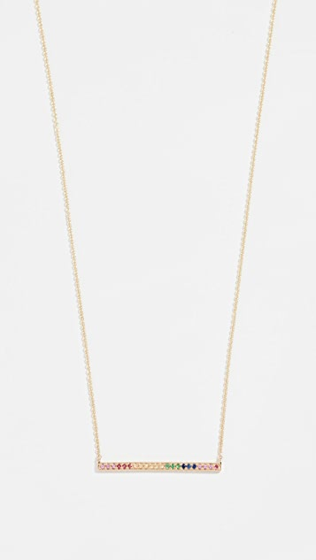 Sydney Evan 14k Pave Long Bar Necklace