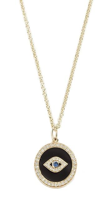 Sydney Evan Колье из 14-каратного золота с эмалевым кулоном в виде дурного глаза с паве и камнями в закрепке «безель»