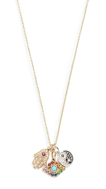 Sydney Evan 14k Multi Charm Necklace