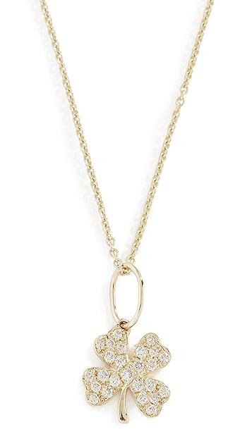 Sydney Evan 14k Small Clover Necklace