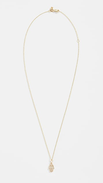 Sydney Evan Колье из 14-каратного золота с небольшой подвеской в виде хамсы с паве