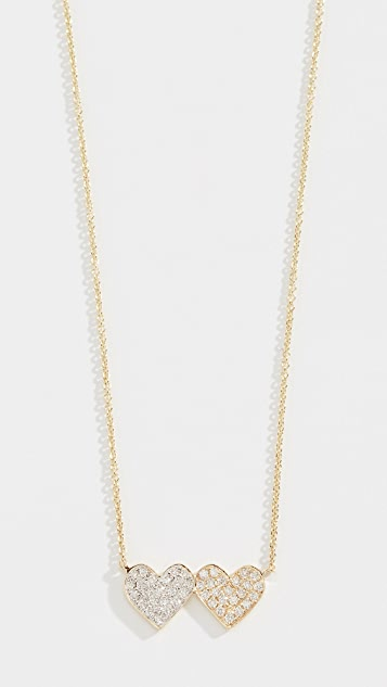 Sydney Evan 14k Medium Double Heart Necklace