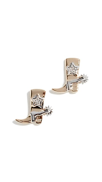 Sydney Evan 14k Cowboy Boot Stud Earrings